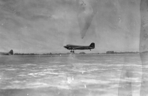 C-47 landing  at Yokota Air Base, April, 1946 | by San Diego Air & Space Museum Archives