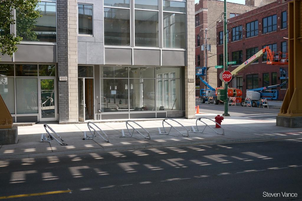 Bike racks at CTA Morgan Station serving the Green and Pink Lines