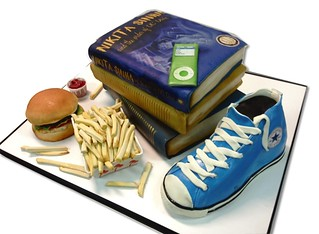 books: burger graduation-cake | by debbiedoescakes