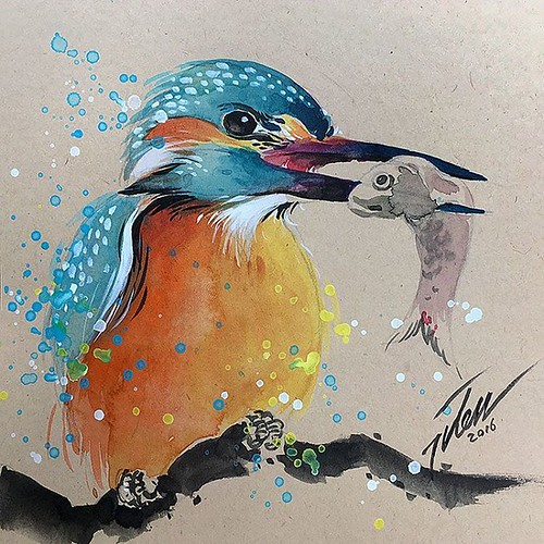 "kingfisher #4 • original painting by Tilen Ti  Watercolour  6"" x 6"" • 15 x 15 cm  online store: tilenti.tictail.com --------------------------------- #theartcommunity #watercolour #paintings #splattered #drip #dripped #artfido #art #_tebo_ #artists_magazi 