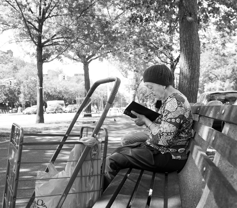 Woman Reading on Ocean Parkway
