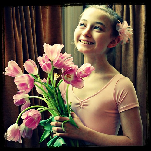 Olivia with tulips | by Tricia Scott