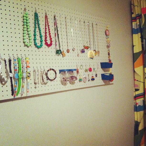 Finally got the pegboard jewelry organizer up Shrie Bradford