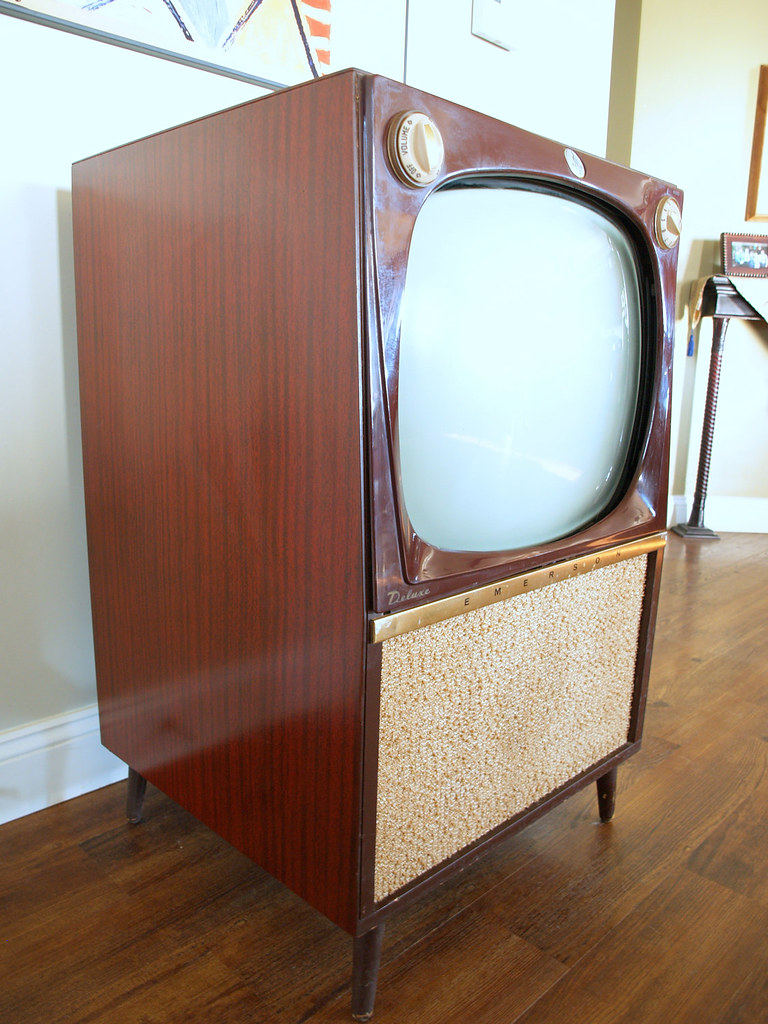 Bon ... Vintage CONSOLE TV SET // Mid Century Modern Television Big Wooden  Furniture Cabinet Made By