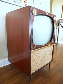 Vintage Console Tv Set Mid Century Modern Television Bi