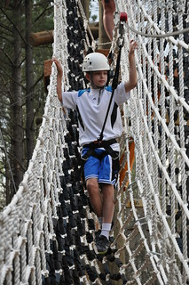 Carson descends from the ropes course | by secondtree
