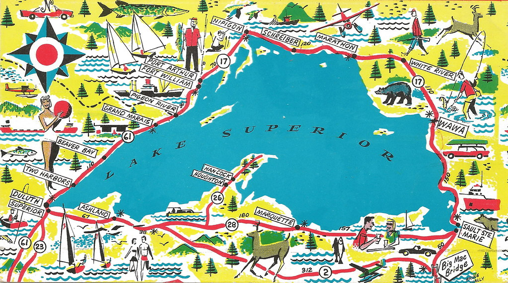 UP Vintage Michigan LAKE SUPERIOR ROUT UP Canada and areas… | Flickr