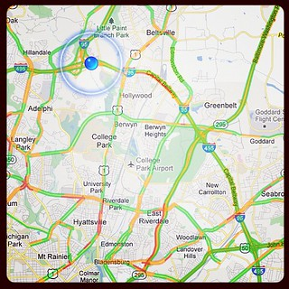 The merge onto 495 is a rolling parking lot here, although it's not reflected in this traffic data. Hoping to get around the red and wend my way down to Route 50. Ack. It's not as if had anything else to do tonight. :[ | by Divergence