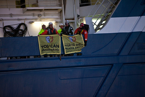 Activists on Shell's icebreaker heading for the Arctic | by Greenpeace Sverige