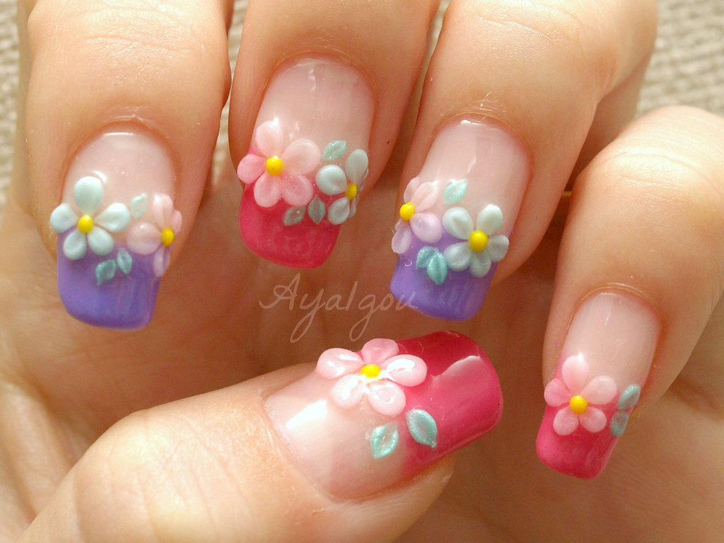 Spring flower nail art | My own nails Base gel Colored gel A… | Flickr