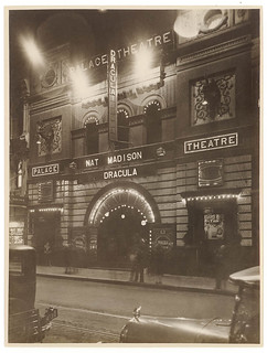 "Palace Theatre, Sydney, lit at night, showing ""Dracula"" with Nat Madison, between 1927-1931 / photographer Sam Hood 