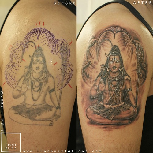 Iron Buzz Tattoos Andheri Mumbai: Lord-shiva-shankar-indian-mythology-religious-tattoo-on-ar