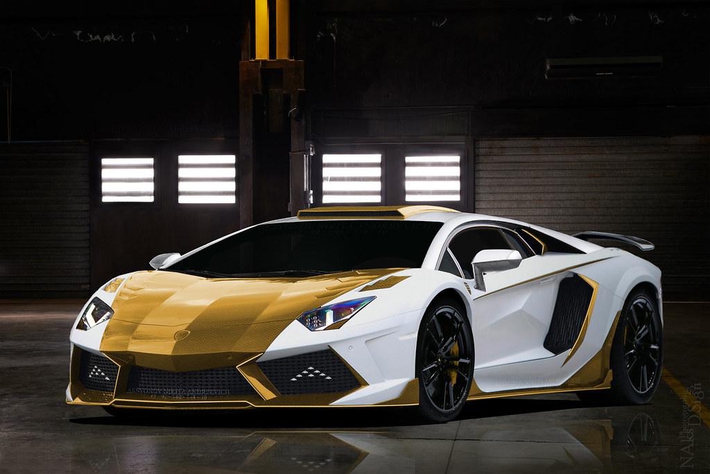 Lamborghini Aventador Gold Carbon Mansory