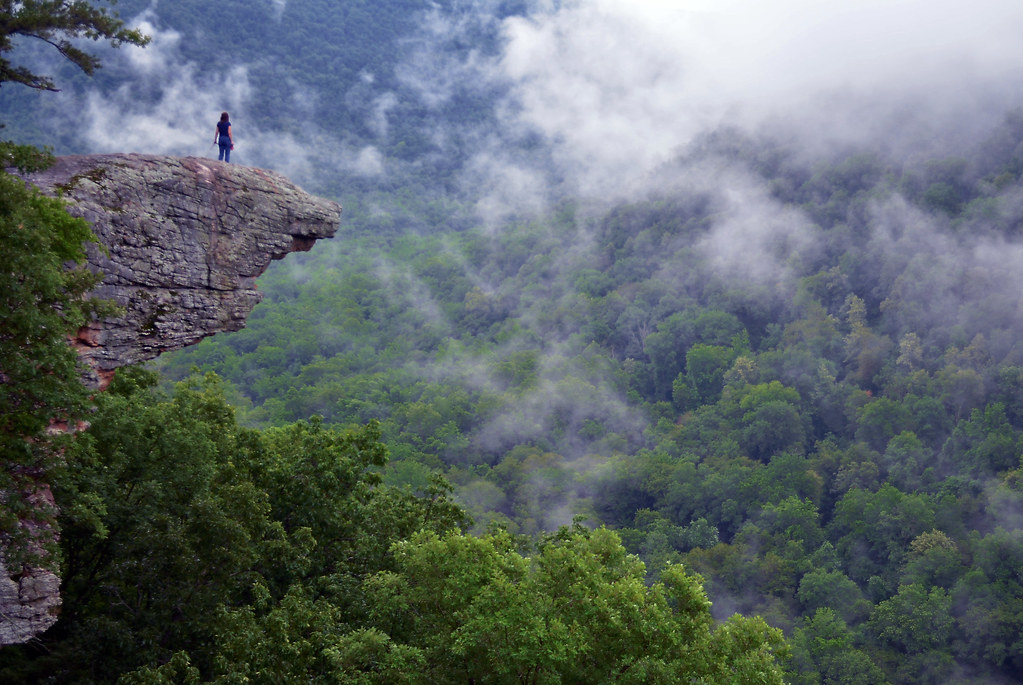 arkansas up in the clouds on hawksbill crag whitaker point in the ozark mountains arkansas