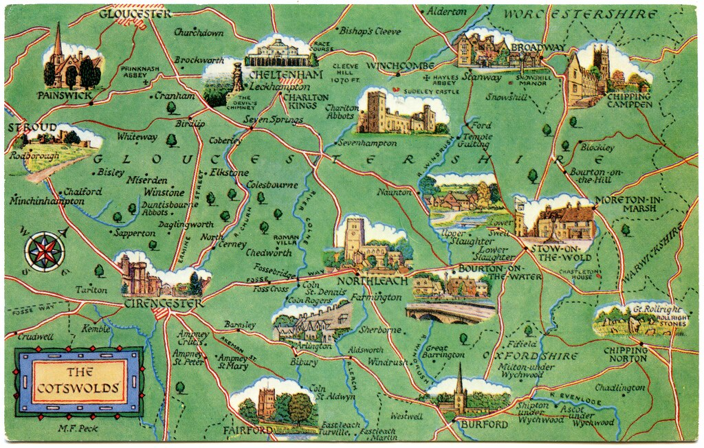 Map Of The Cotswolds Postcard map of the Cotswolds | Drawn by M F Peck. J Salmon,… | Flickr Map Of The Cotswolds
