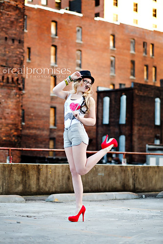 mustache senior girl with red hills pinup | by Summer- Real Promises Photography