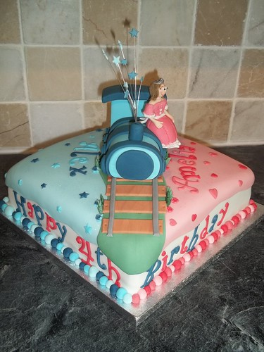 Twin Birthday Cake A Princess And Train Birthday Cake
