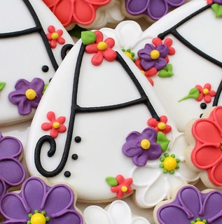 "Floral Letter ""A"" Cookies 