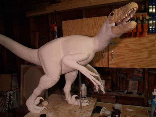 deinonychus scaled, primed and ready for painting and feathering | by paul heaston