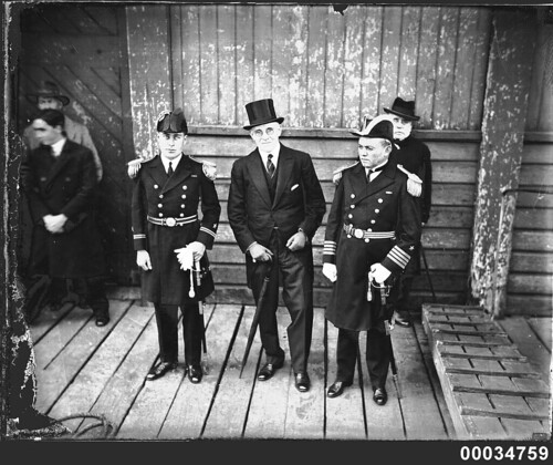 Lieutenant Raul Braun, R Dundas Smith and Captain Luis Alvarez at Circular Quay, 17 July 1931 | by Australian National Maritime Museum on The Commons