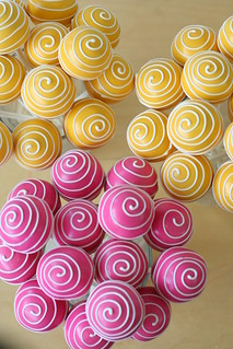 Yellow and Pink Swirly Cake Pops | by Sweet Lauren Cakes