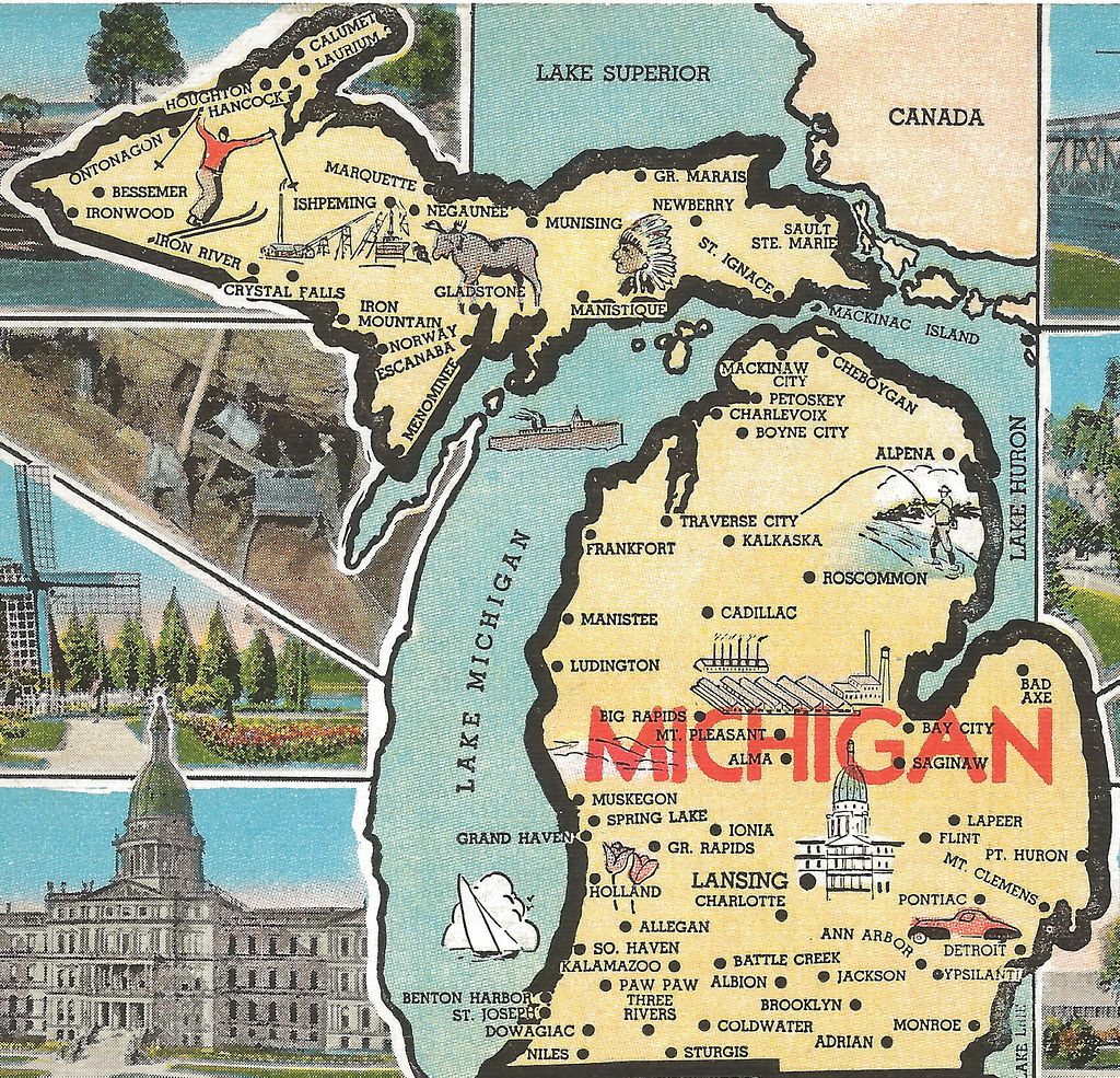 Vintage Michigan History Heritage Travel and Tourism Collect – Michigan Travel Map