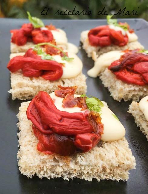 Montaditos de pimientos asados con mayonesa de bacalao (1)