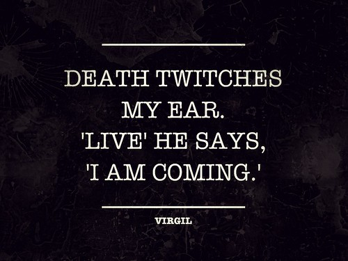 Death twitches my ear. 'Live' he says, 'I am coming.' | by zachrome