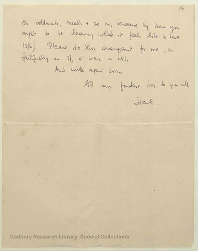 Letter from Henry Reed to his sister, Gladys | by Cadbury Research Library