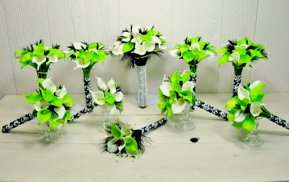 Lime Green White Black Calla Lily Feather Damask Bridal Bo Flickr