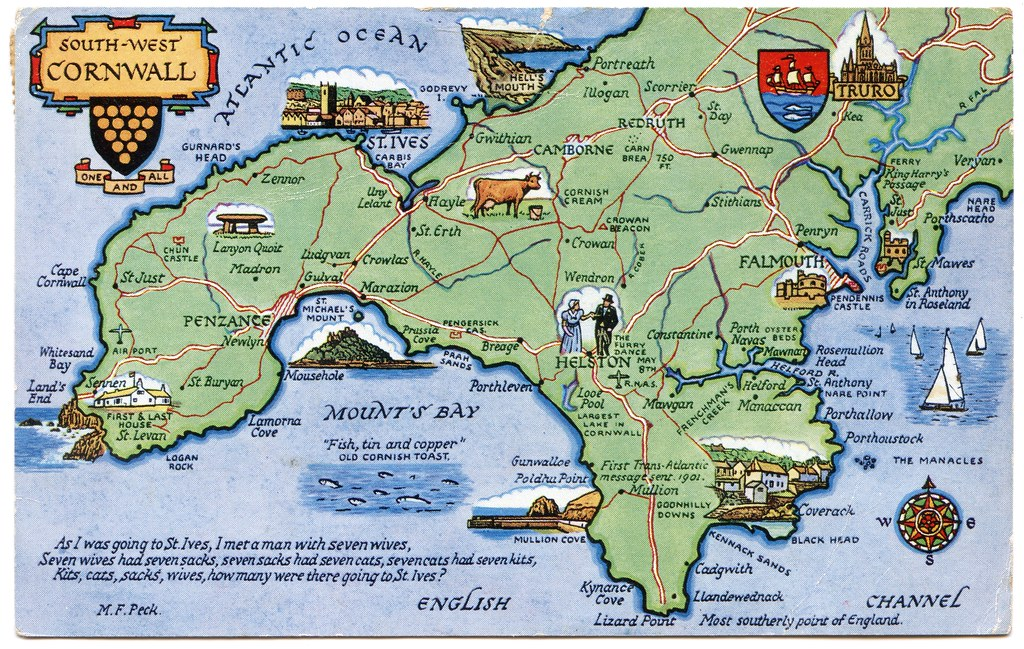 Map Of South Cornwall Postcard map of South West Cornwall | Drawn by M F Peck. J S… | Flickr Map Of South Cornwall