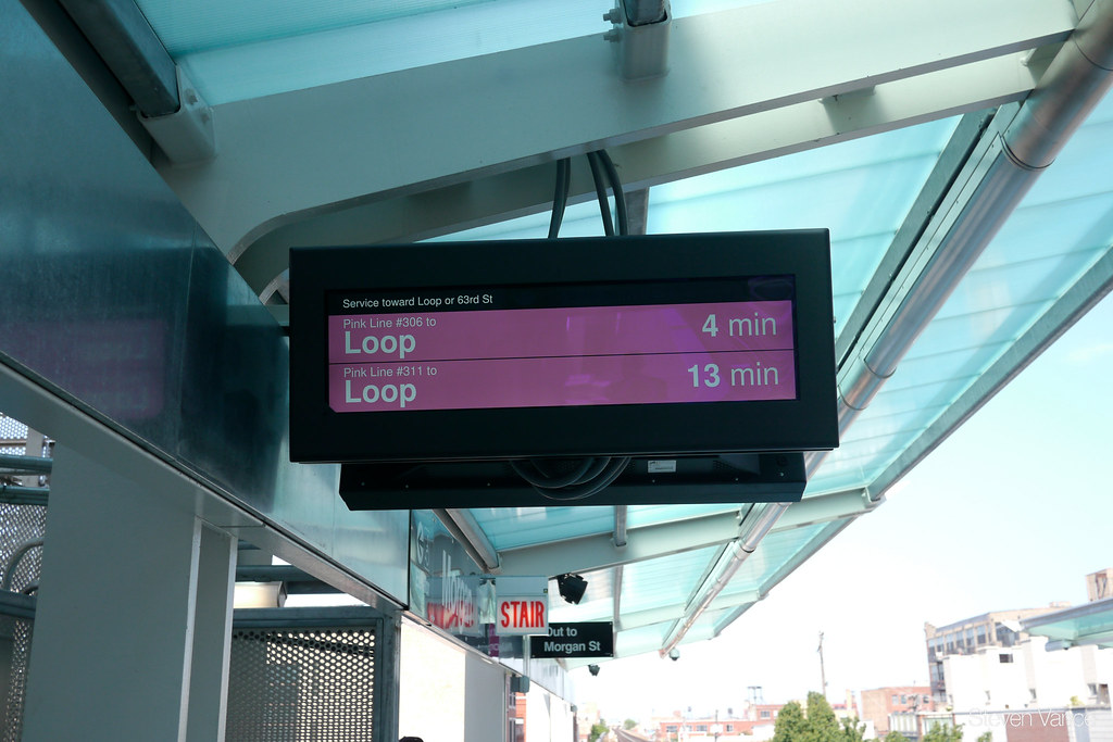 Train Tracker sign at CTA Morgan Station serving the Green and Pink Lines