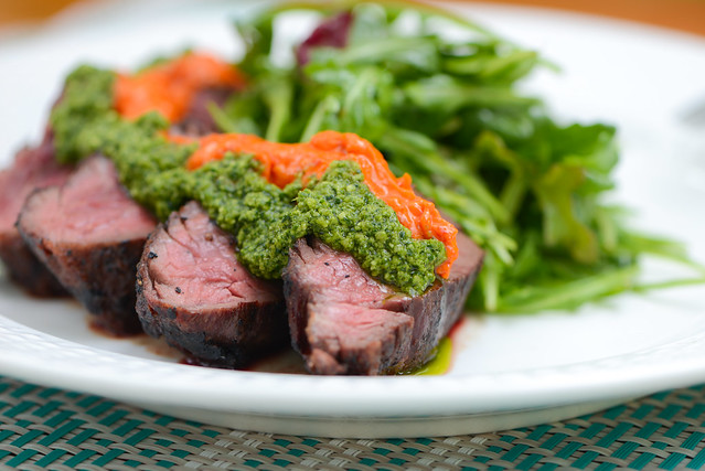 Hanger Steak with Harissa Butter