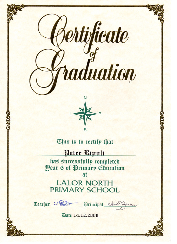 Peter Ripoli\'s Graduation Certificate from Lalor North Pri… | Flickr