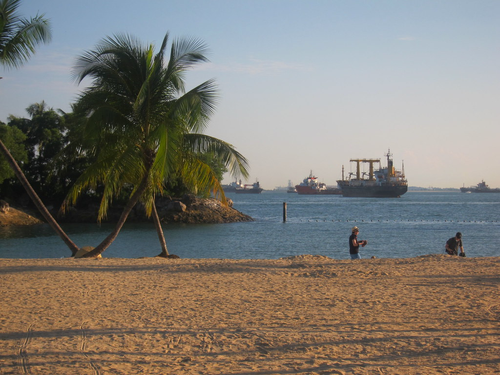 Sentosa Island beach and boats