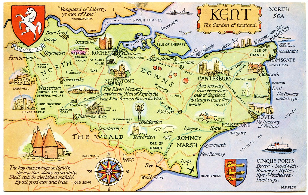 Postcard map of Kent, the Garden of England | Drawn by M F P… | Flickr