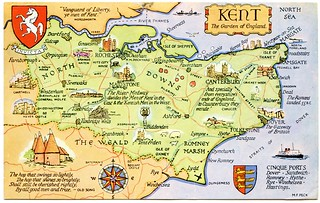 Postcard Map Of Kent The Garden Of England Drawn By M F
