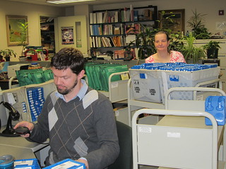 Processing digital and large print book returns | by Worcester Talking Book Library
