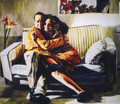 realistic painting of man and woman hugs realism art by th ...