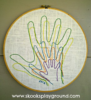 Embroidered Family Handprints | by SkooksPlayground