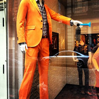 Whoa. A vision of my future #fashion? #Orange #TriBeCa #NYC | by danbretl