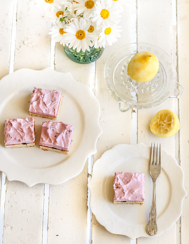 Lemon Cake Squares with Cherry Meringue Icing | by raspberri cupcakes