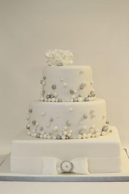 V Elegante Hochzeitstorte Weiss Silber Elegante 3 Stockige Flickr