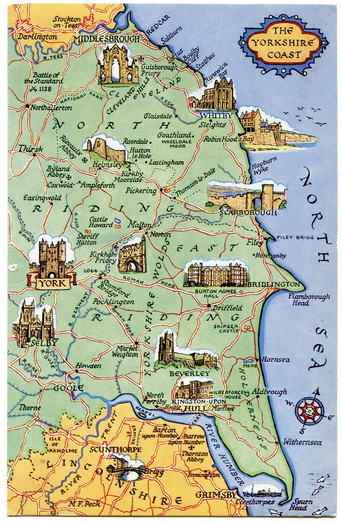 Postcard map of the Yorkshire Coast  Drawn by M F Peck J S  Flickr
