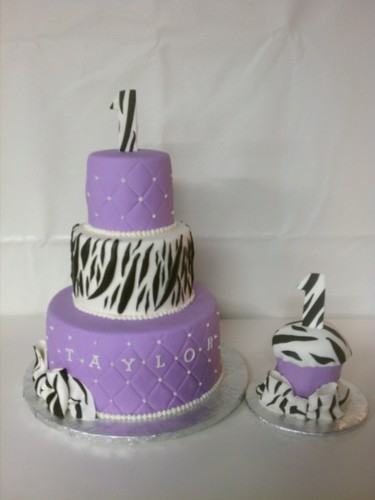 Zebra and Lavendar birthday cake with matching oversized smash cupcake | by Little Sugar Bake Shop
