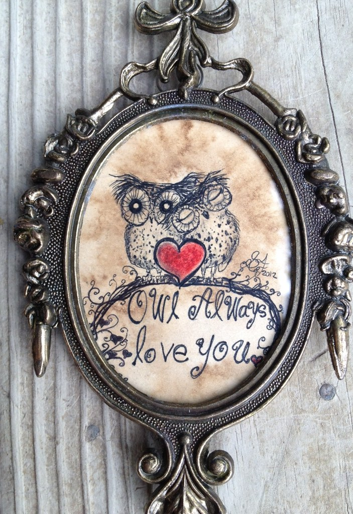 Owl Always Love you - Made in Italy Vintage Oval framed | Flickr