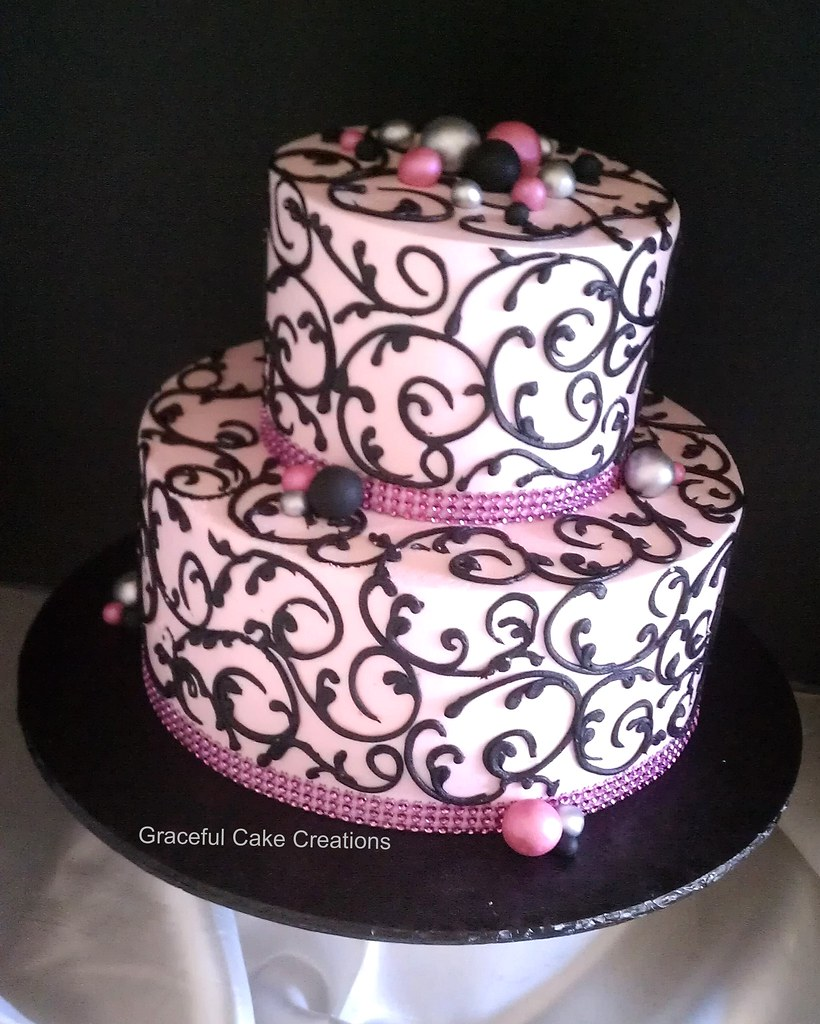 pink and black bridal shower cake by graceful cake creations