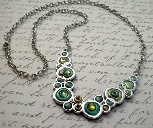 Bubble Necklace Polymer clay and Crystals | by MandarinMoon