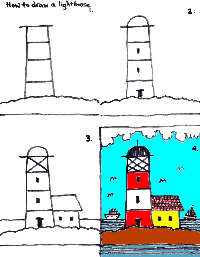 how to draw a lighthouse kids art club at church today le flickr