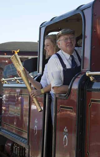 Olympic flame arriving by train from Blaenau Ffestinog at Porthmadog | by Martin Pritchard